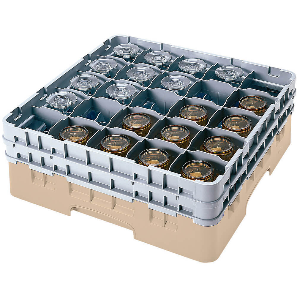 "Beige, 25 Comp. Glass Rack, Full Size, 3-5/8"" H Max."