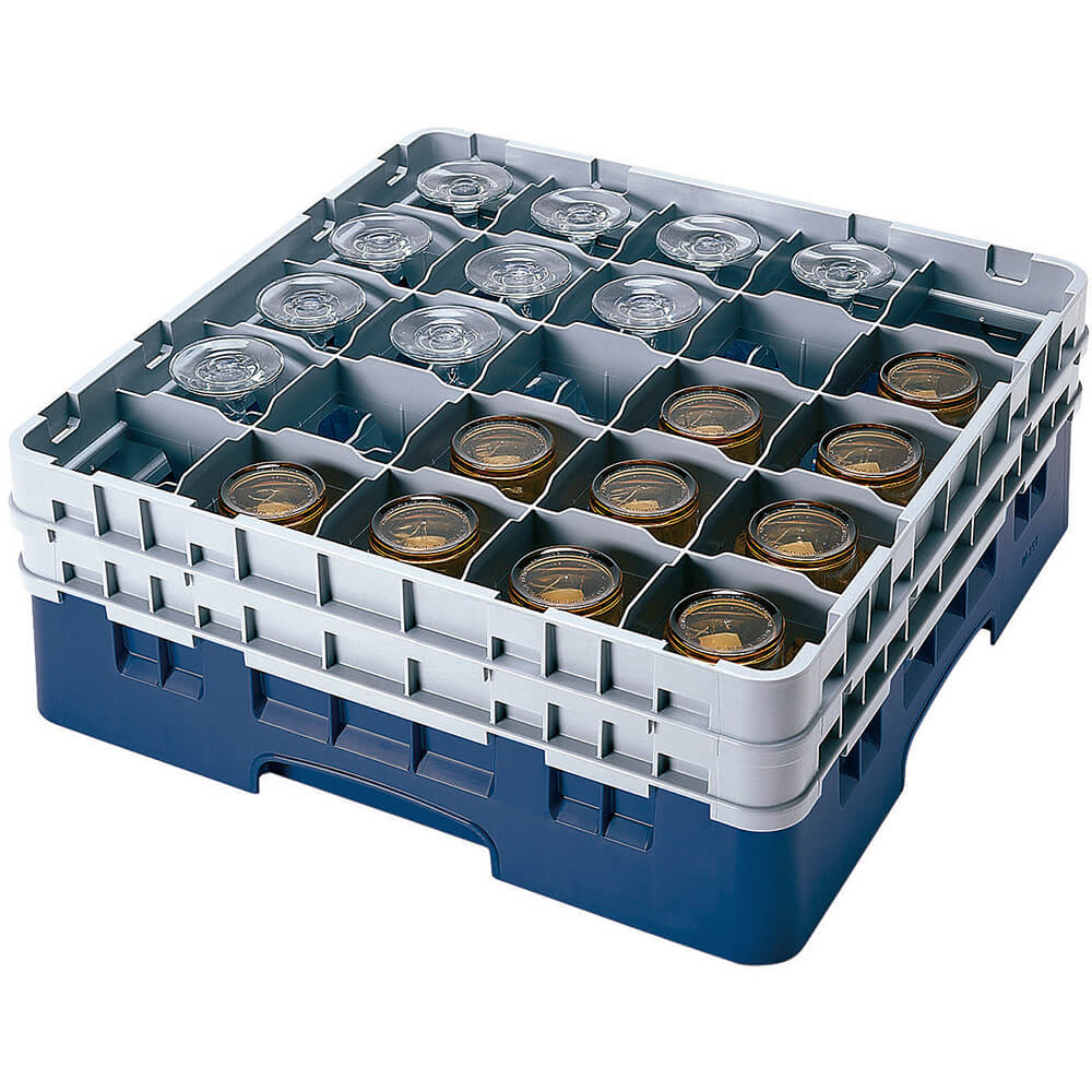 "Navy Blue, 25 Comp. Glass Rack, Full Size, 5.25"" H Max."