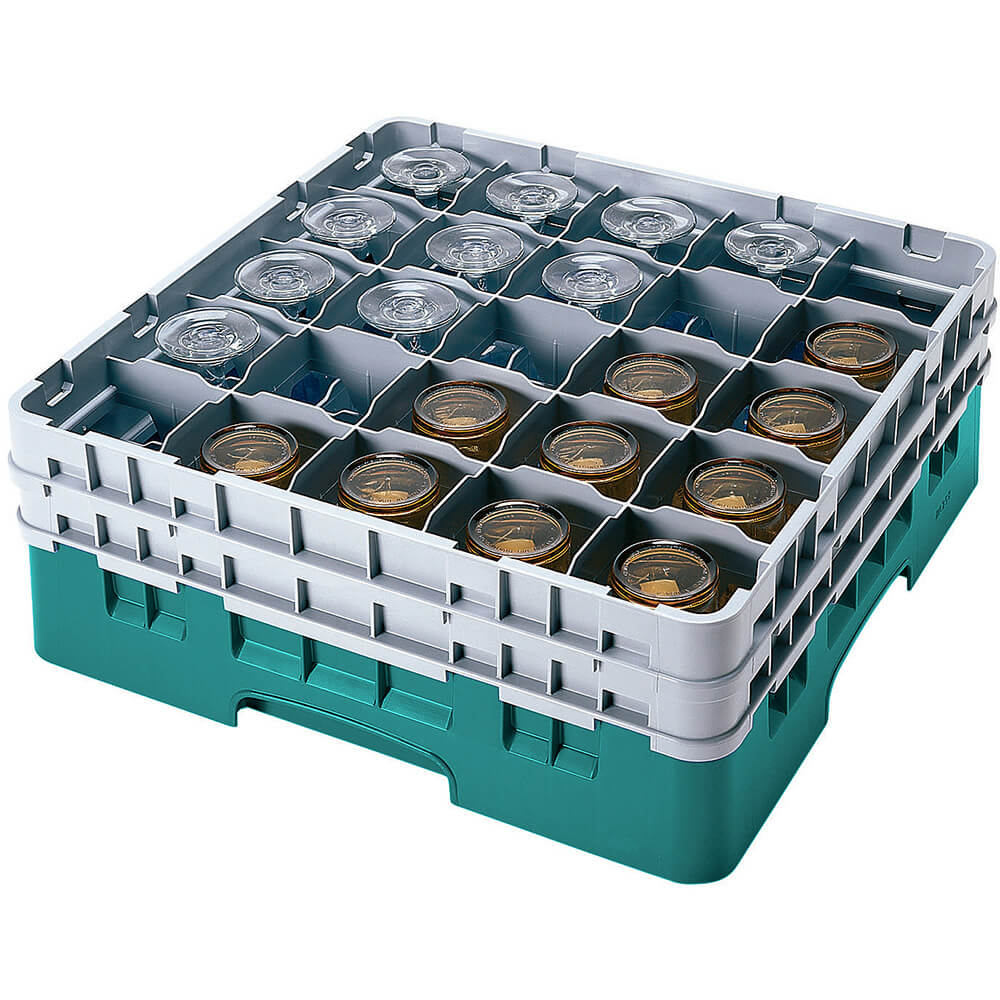 "Teal, 25 Comp. Glass Rack, Full Size, 6-1/8"" H Max."