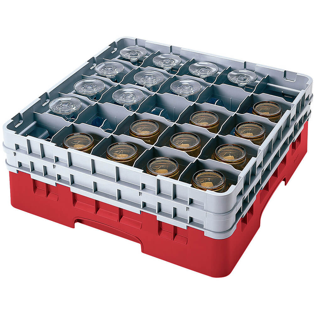 "Cranberry, 25 Comp. Glass Rack, Full Size, 3-5/8"" H Max."