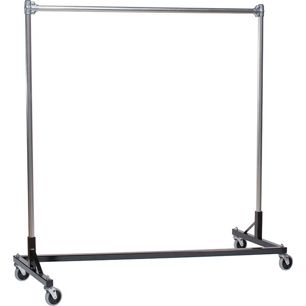 "Black Z-Rack, Heavy Duty Clothes Rack 60"" L x 60"" Uprights, Single Rail"
