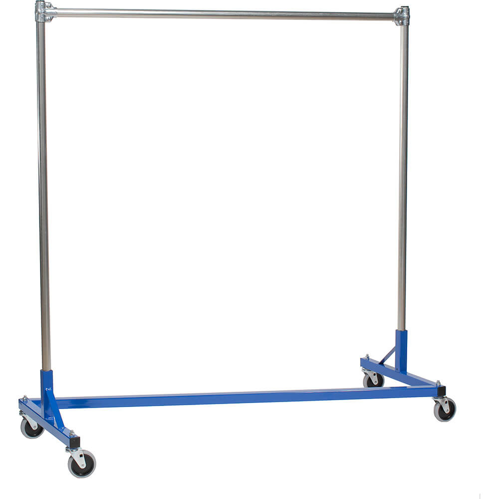 "Blue Z-Rack, Heavy Duty Clothes Rack 60"" L x 60"" Uprights, Single Rail"