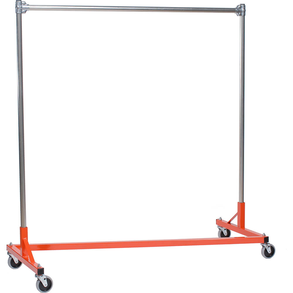 "Orange Z-Rack, Heavy Duty Clothes Rack 60"" L x 60"" Uprights, Single Rail"