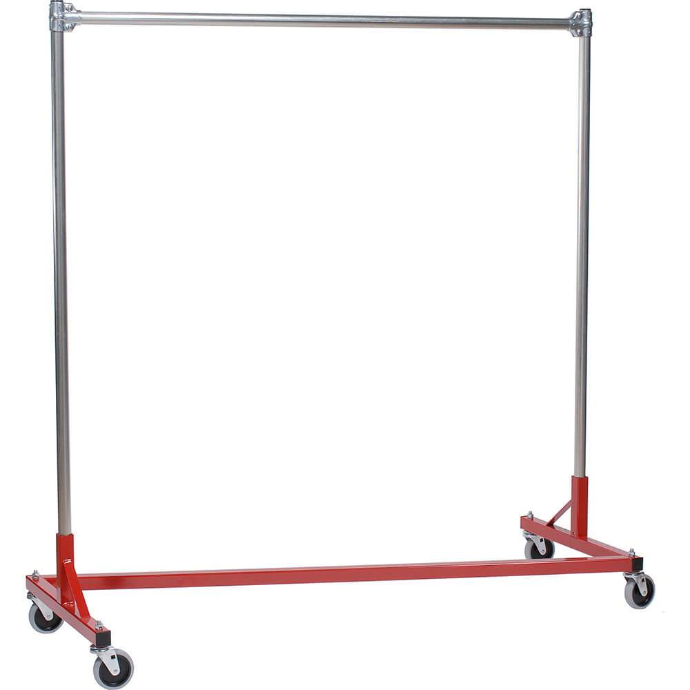 "Red Z-Rack, Heavy Duty Clothes Rack 60"" L x 60"" Uprights, Single Rail"