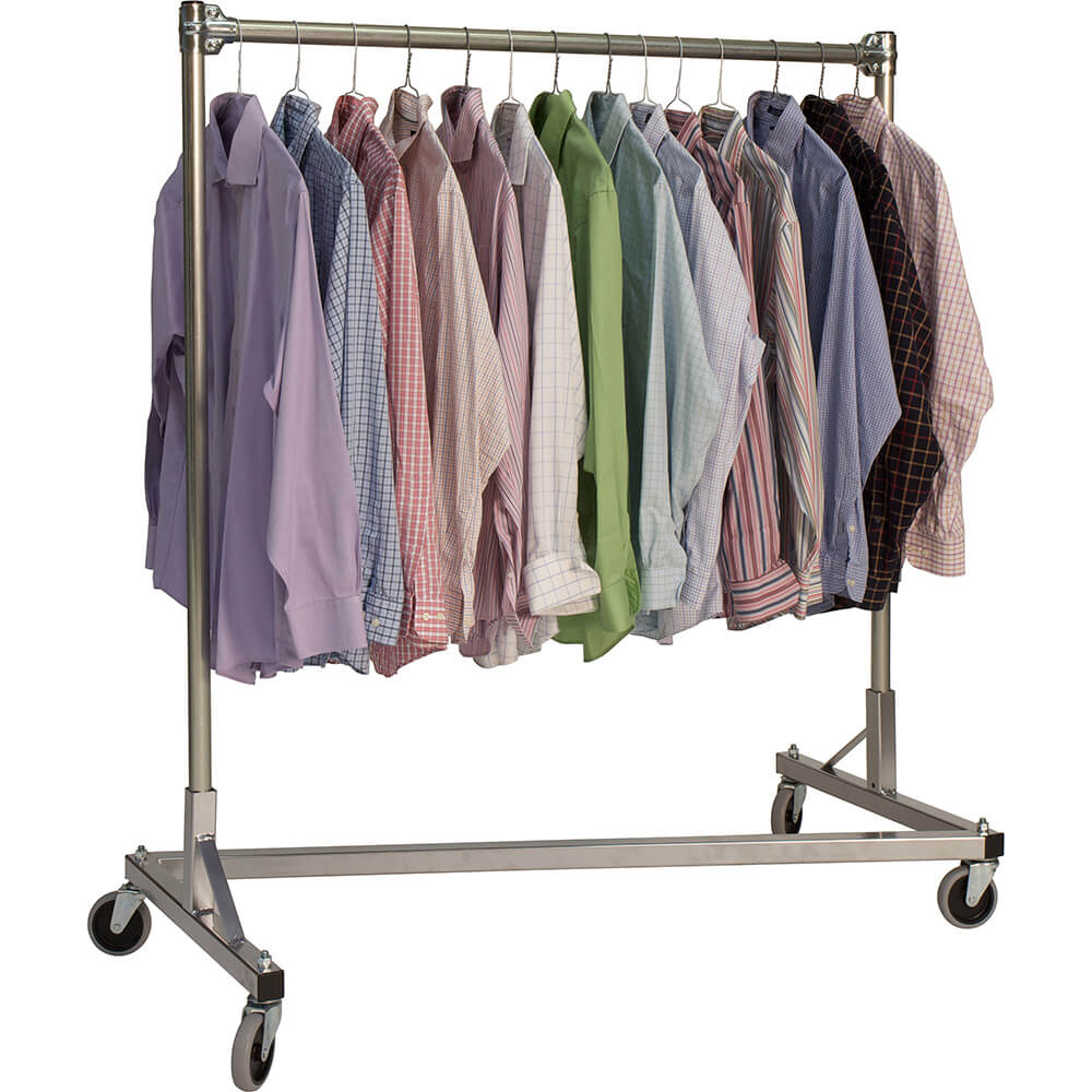 "Silver Z-Rack, Heavy Duty Clothes Rack 60"" L x 60"" Uprights, Single Rail View 2"