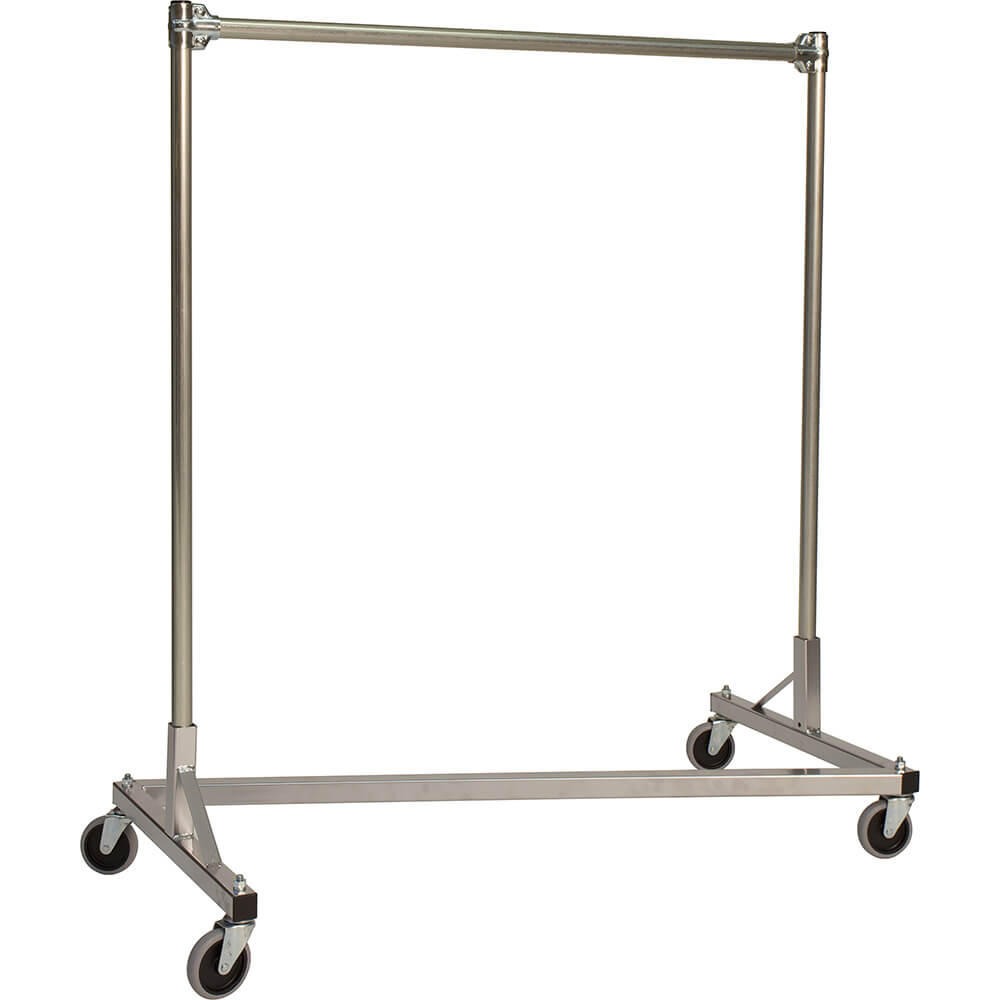 "Silver Z-Rack, Heavy Duty Clothes Rack 60"" L x 60"" Uprights, Single Rail"