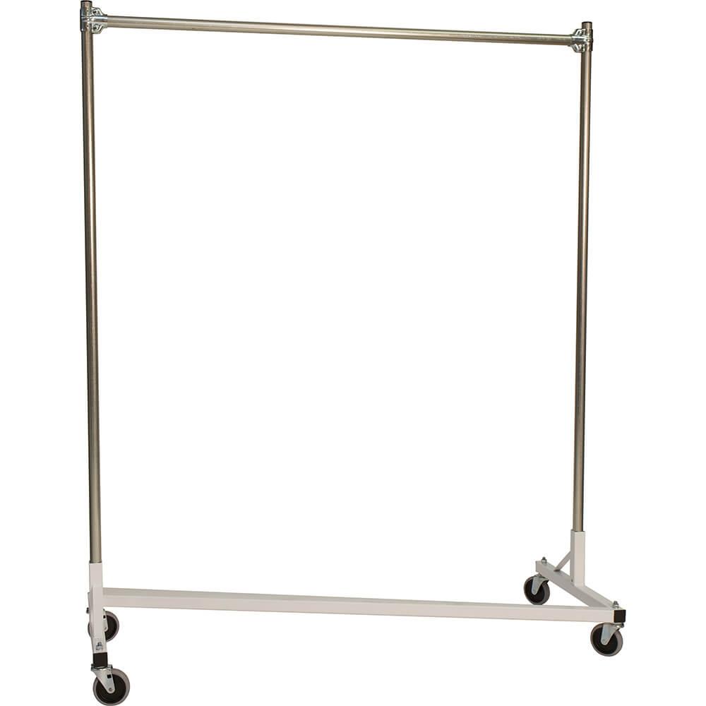 "White Z-Rack, Heavy Duty Clothes Rack 60"" L x 60"" Uprights, Single Rail"