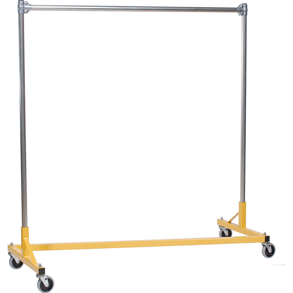 "Yellow Z-Rack, Heavy Duty Clothes Rack 60"" L x 60"" Uprights, Single Rail"