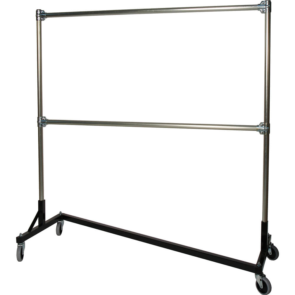 "Black Z-Rack, Heavy Duty Clothes Rack 60"" L x 60"" Uprights, Double Rail"