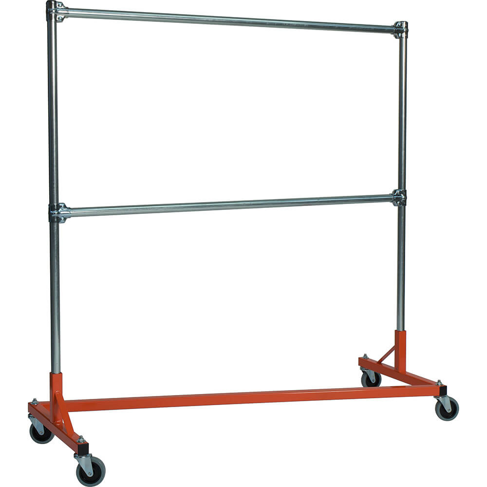 "Orange Z-Rack, Heavy Duty Clothes Rack 60"" L x 60"" Uprights, Double Rail"