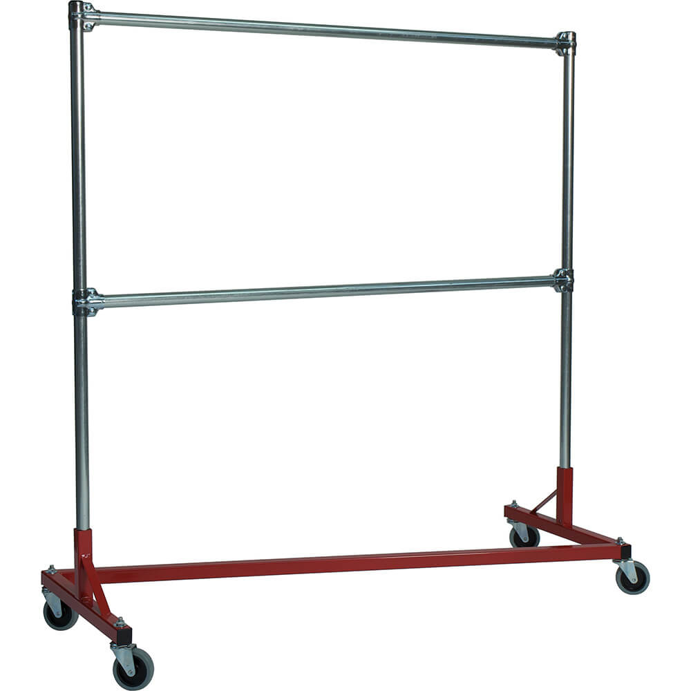 "Red Z-Rack, Heavy Duty Clothes Rack 60"" L x 60"" Uprights, Double Rail"