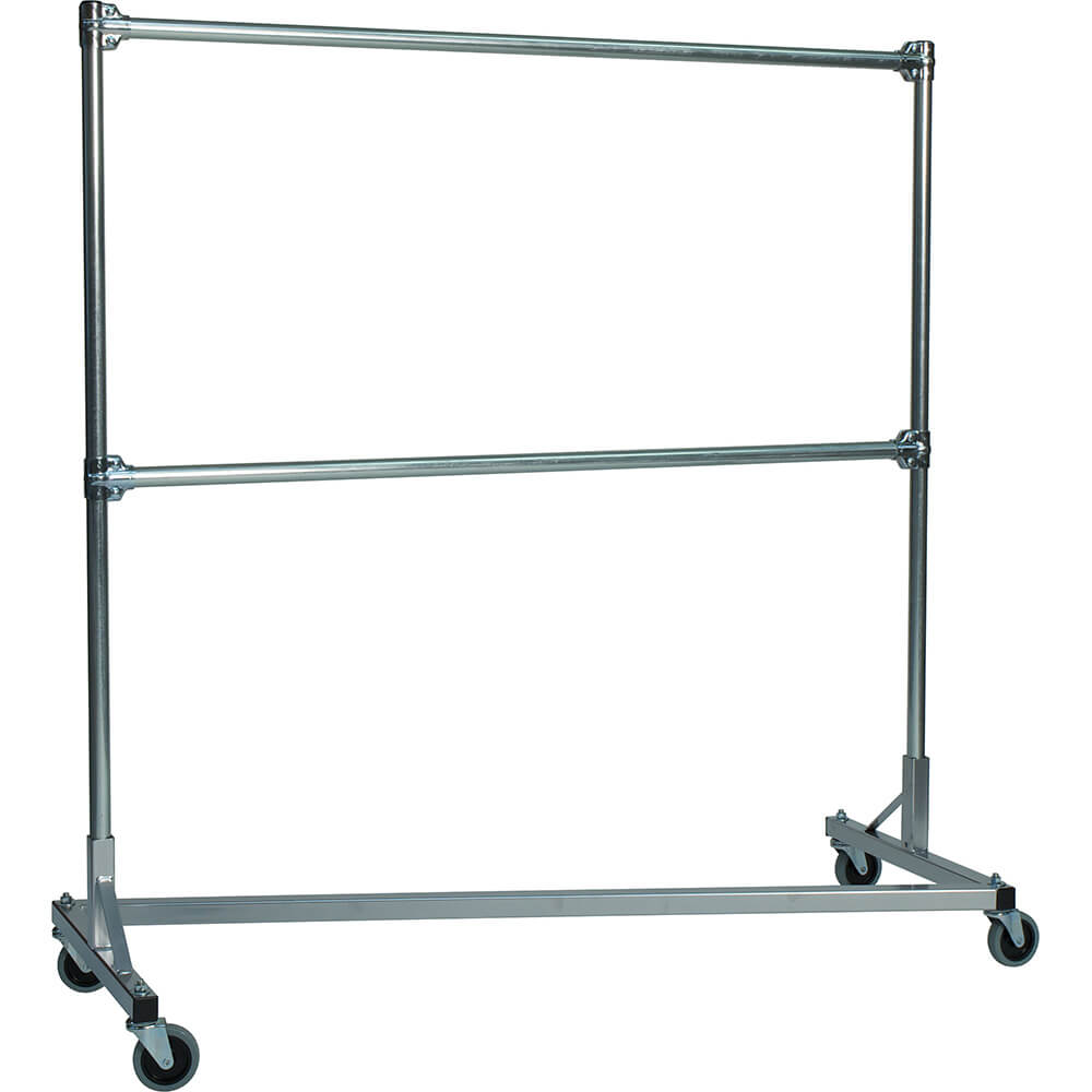 "Silver Z-Rack, Heavy Duty Clothes Rack 60"" L x 60"" Uprights, Double Rail"