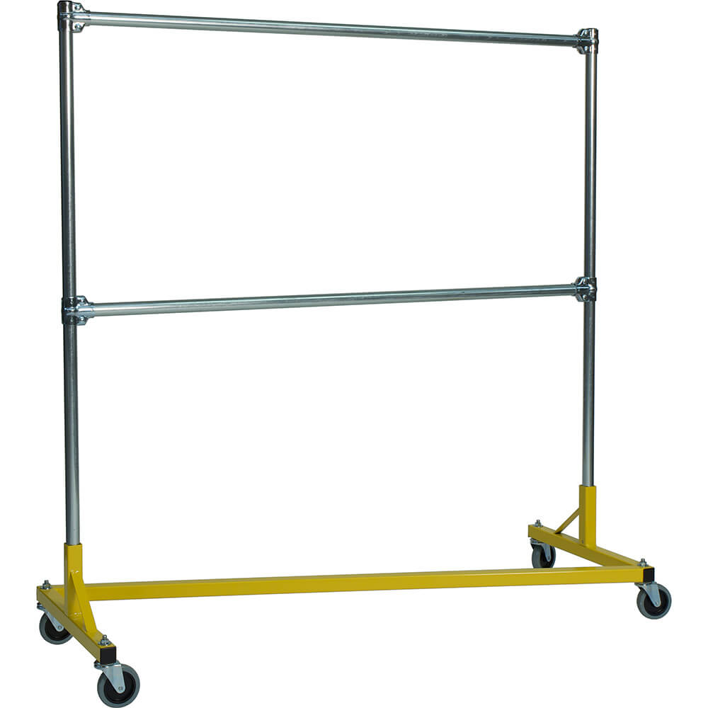 "Yellow Z-Rack, Heavy Duty Clothes Rack 60"" L x 60"" Uprights, Double Rail"