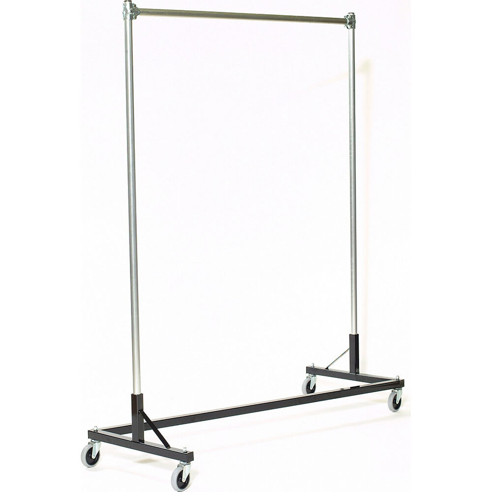 "Black Z-Rack, Heavy Duty Clothes Rack 60"" L x 72"" Uprights, Single Rail"