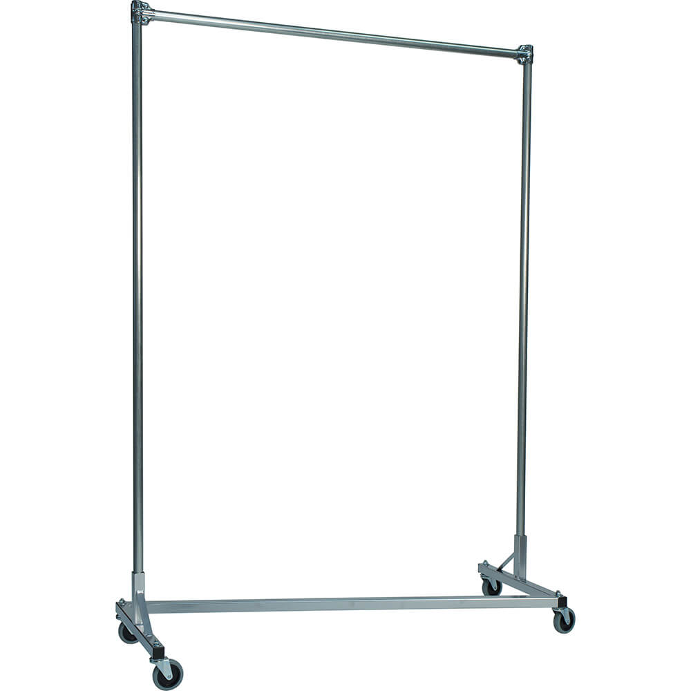 "Silver Z-Rack, Heavy Duty Clothes Rack 60"" L x 72"" Uprights, Single Rail"