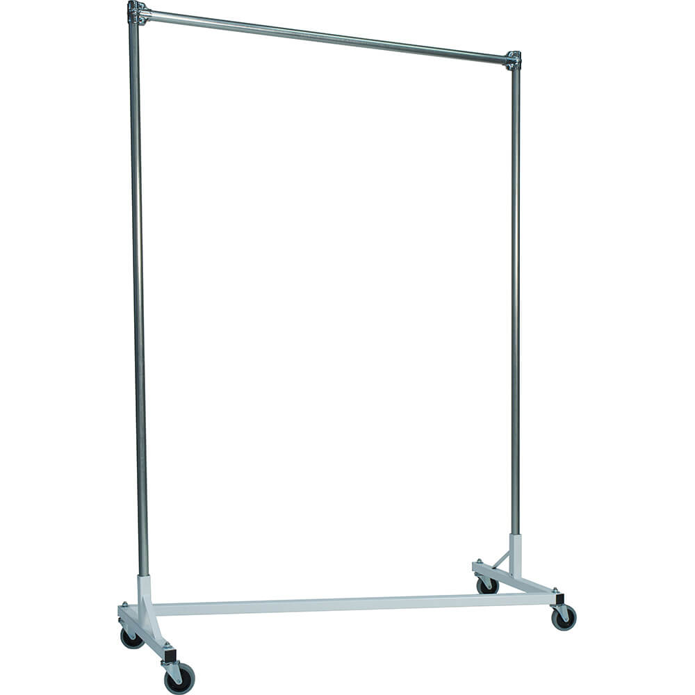 "White Z-Rack, Heavy Duty Clothes Rack 60"" L x 72"" Uprights, Single Rail"
