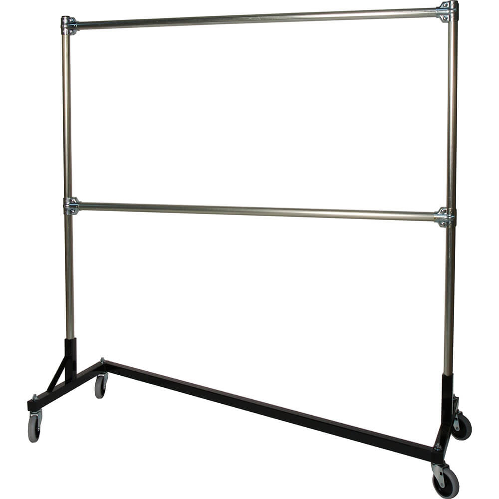 "Black Z-Rack, Laundry Room Clothes Rack 60"" L x 72"" Uprights, Double Rail"