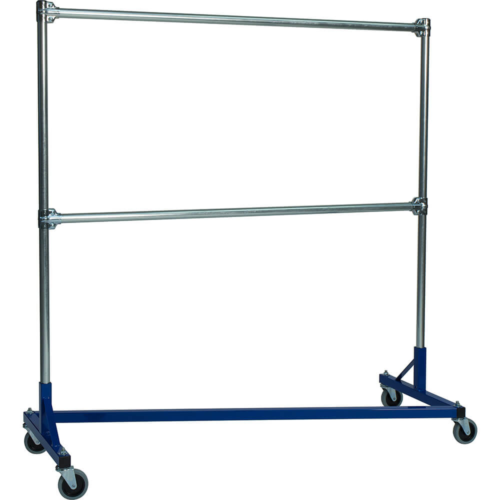"Blue Z-Rack, Laundry Room Clothes Rack 60"" L x 72"" Uprights, Double Rail"