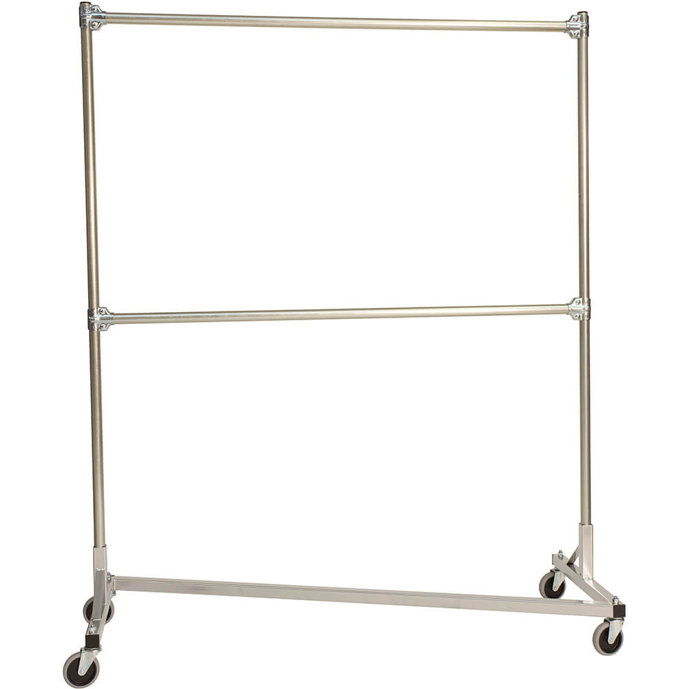 "Silver Z-Rack, Laundry Room Clothes Rack 60"" L x 72"" Uprights, Double Rail"
