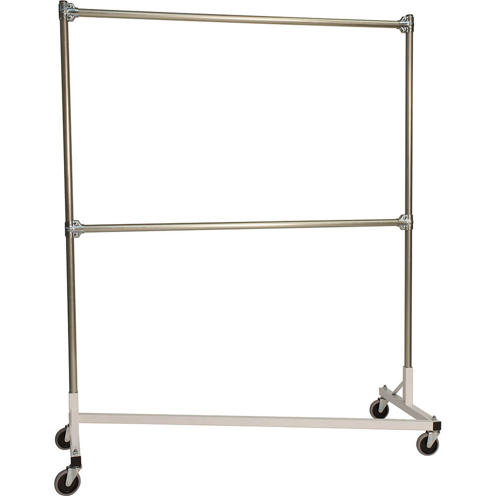 "White Z-Rack, Laundry Room Clothes Rack 60"" L x 72"" Uprights, Double Rail"