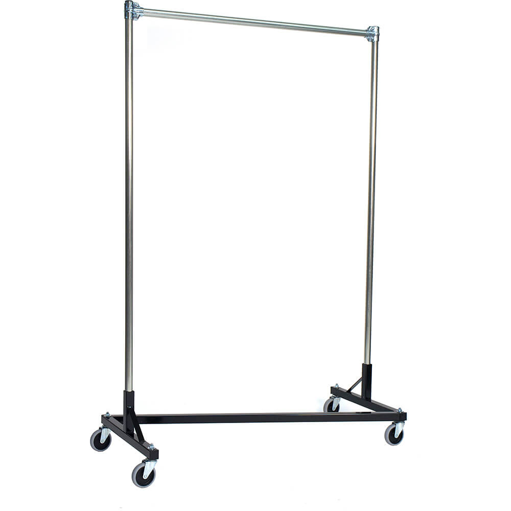 "Black Z-Rack, Heavy Duty Clothes Rack 60"" L x 84"" Uprights, Single Rail"