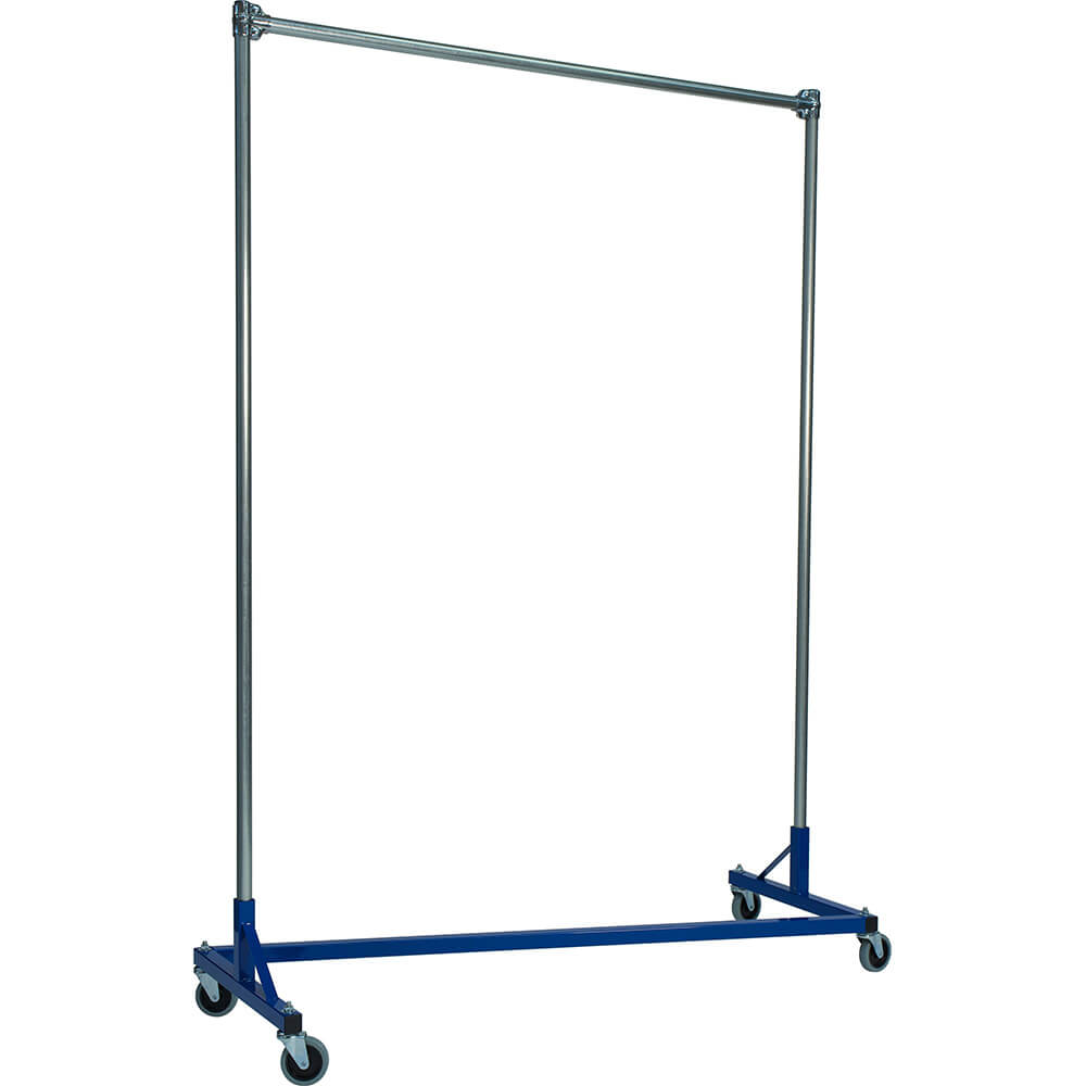 "Blue Z-Rack, Heavy Duty Clothes Rack 60"" L x 84"" Uprights, Single Rail"