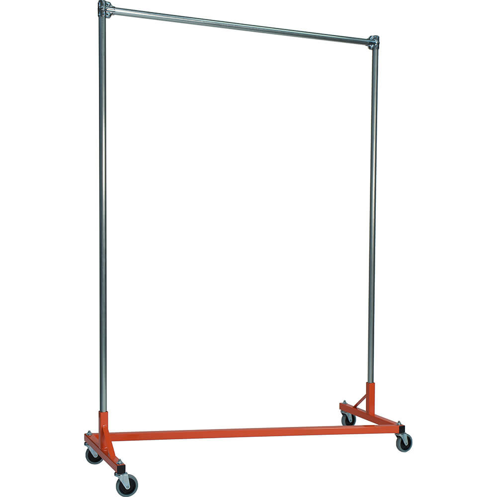 "Orange Z-Rack, Heavy Duty Clothes Rack 60"" L x 84"" Uprights, Single Rail"