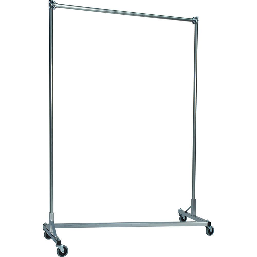 "Silver Z-Rack, Heavy Duty Clothes Rack 60"" L x 84"" Uprights, Single Rail"