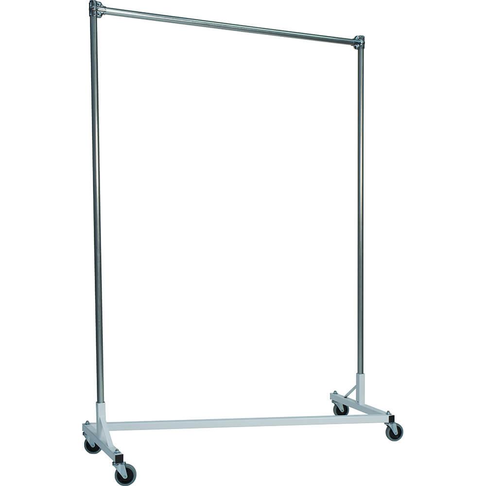 "White Z-Rack, Heavy Duty Clothes Rack 60"" L x 84"" Uprights, Single Rail"