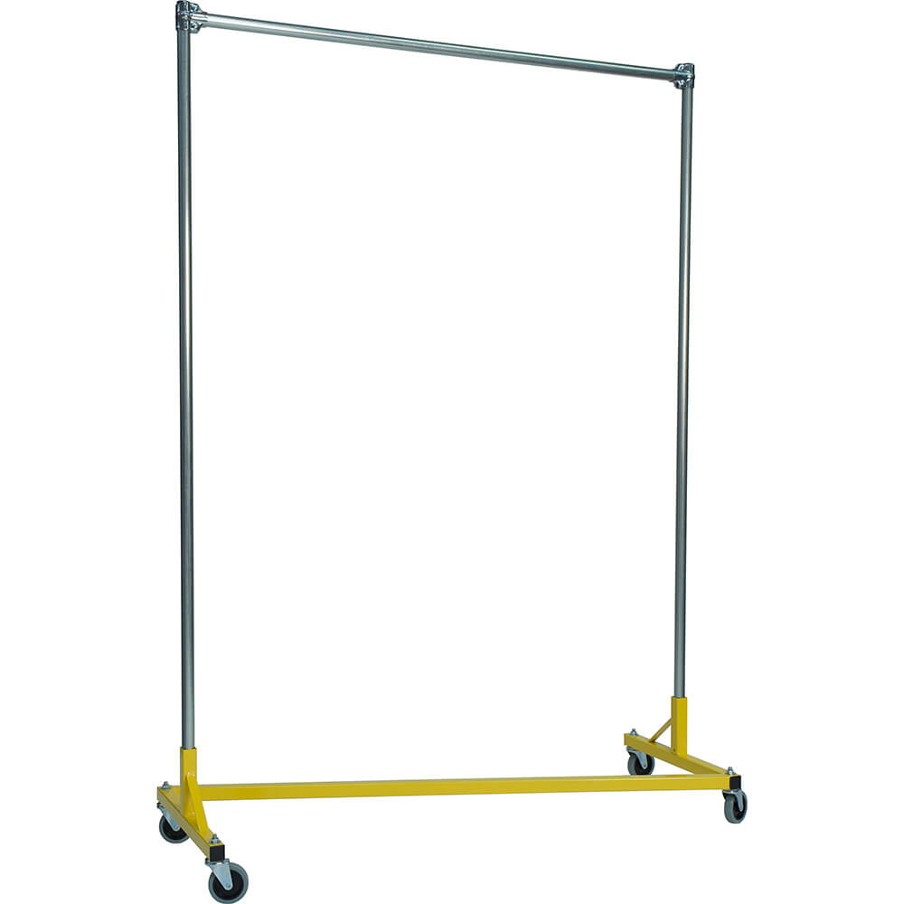 "Yellow Z-Rack, Heavy Duty Clothes Rack 60"" L x 84"" Uprights, Single Rail"