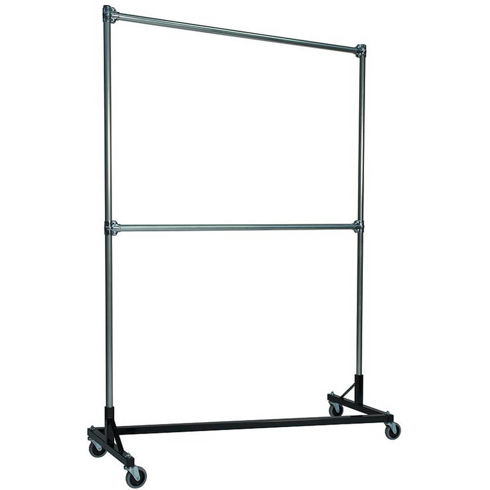 "Black Z-Rack, Heavy Duty Clothes Rack 60"" L x 84"" Uprights, Double Rail"