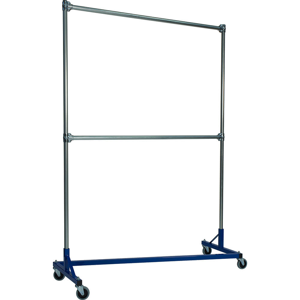 "Blue Z-Rack, Heavy Duty Clothes Rack 60"" L x 84"" Uprights, Double Rail"