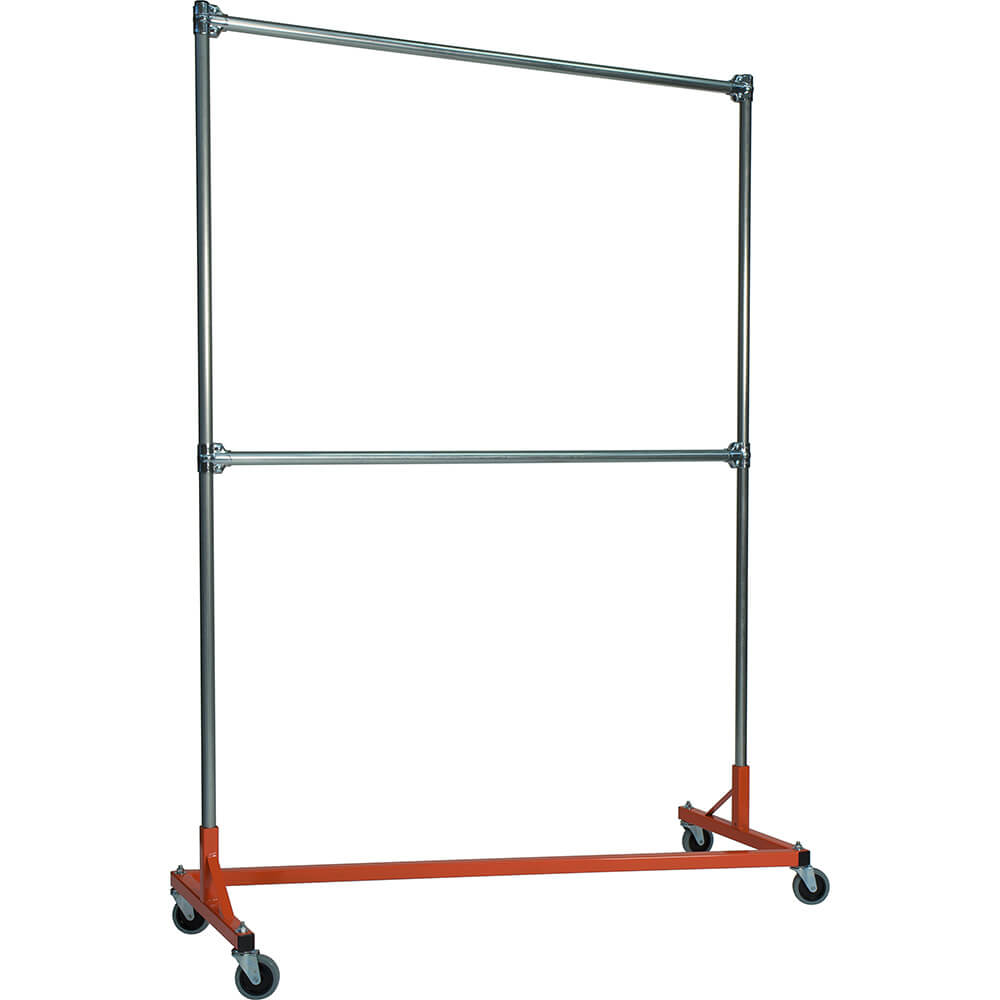 "Orange Z-Rack, Heavy Duty Clothes Rack 60"" L x 84"" Uprights, Double Rail"
