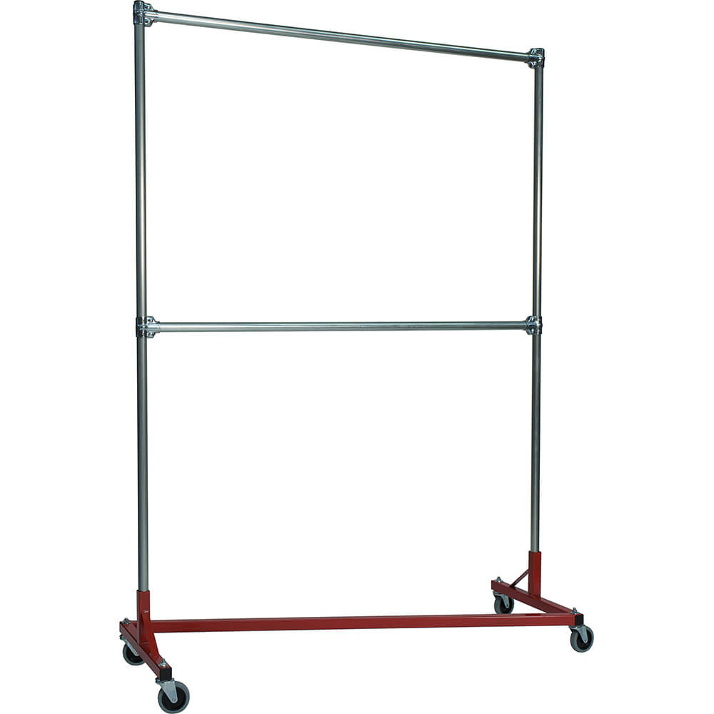 "Red Z-Rack, Heavy Duty Clothes Rack 60"" L x 84"" Uprights, Double Rail"