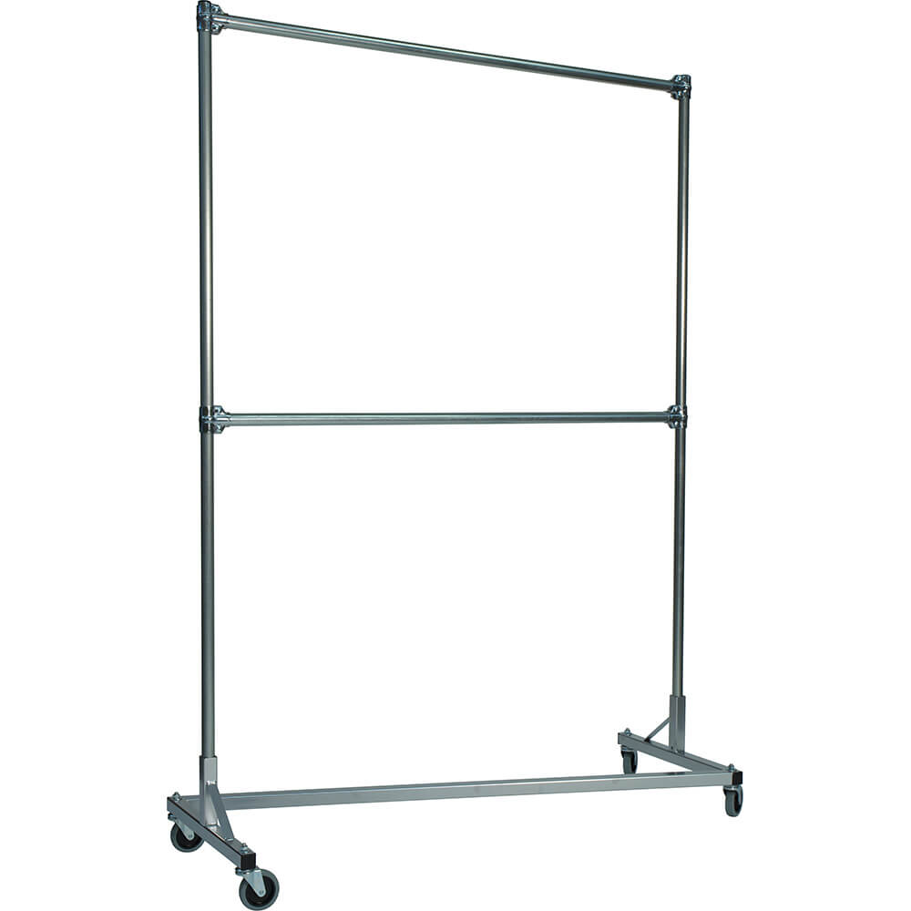 "Silver Z-Rack, Heavy Duty Clothes Rack 60"" L x 84"" Uprights, Double Rail"