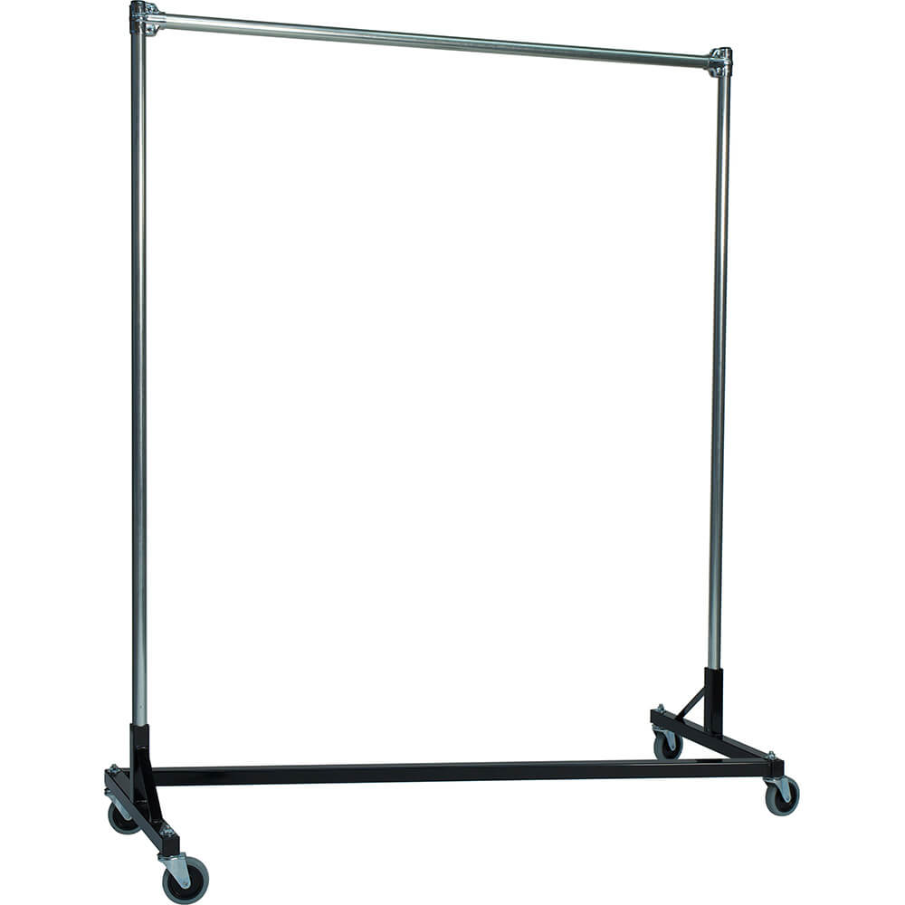 "Black Z-Rack, Heavy Duty Clothes Rack 72"" L x 60"" Uprights, Single Rail"