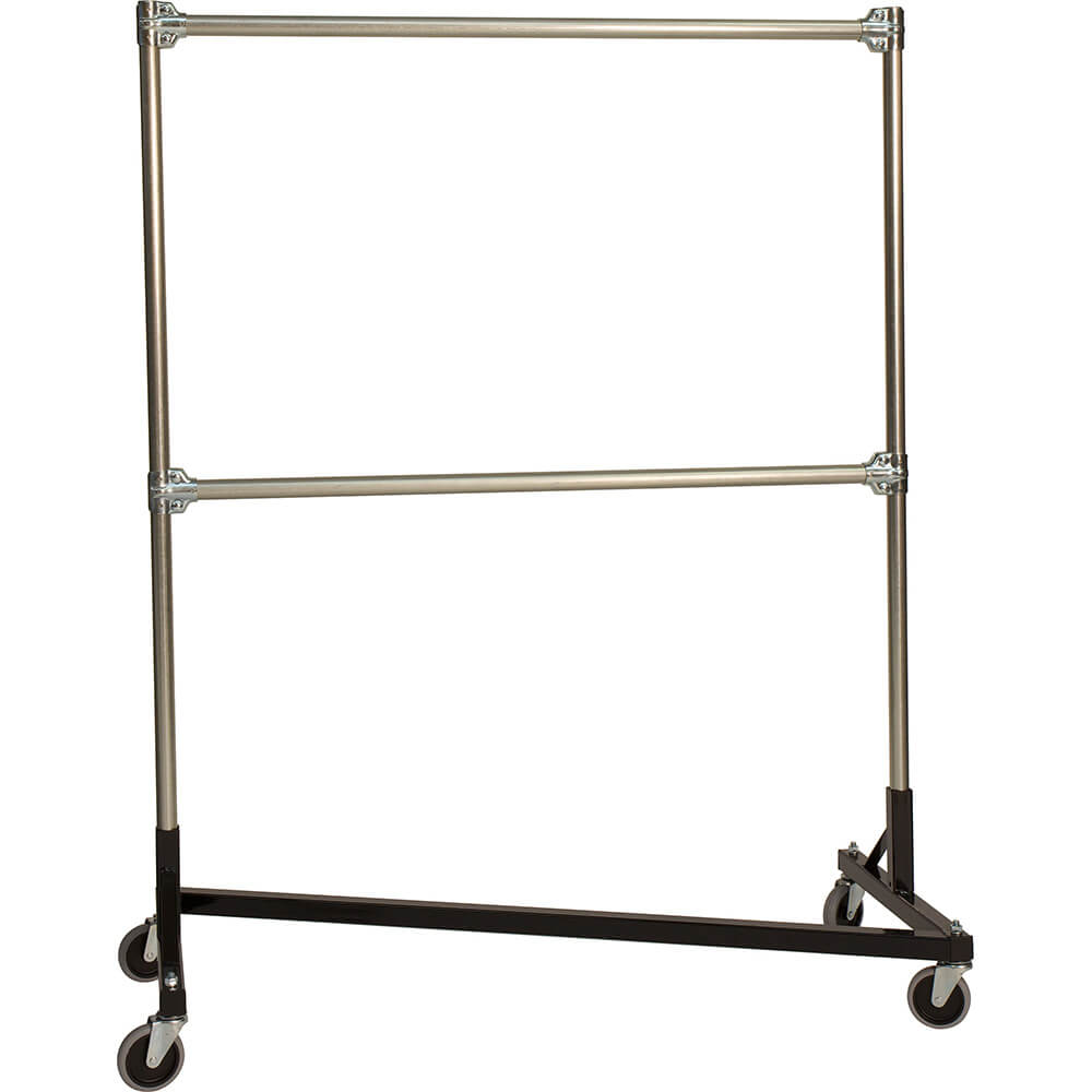 "Black Z-Rack, Heavy Duty Clothes Rack 75"" L x 72"" Uprights, Double Rail"