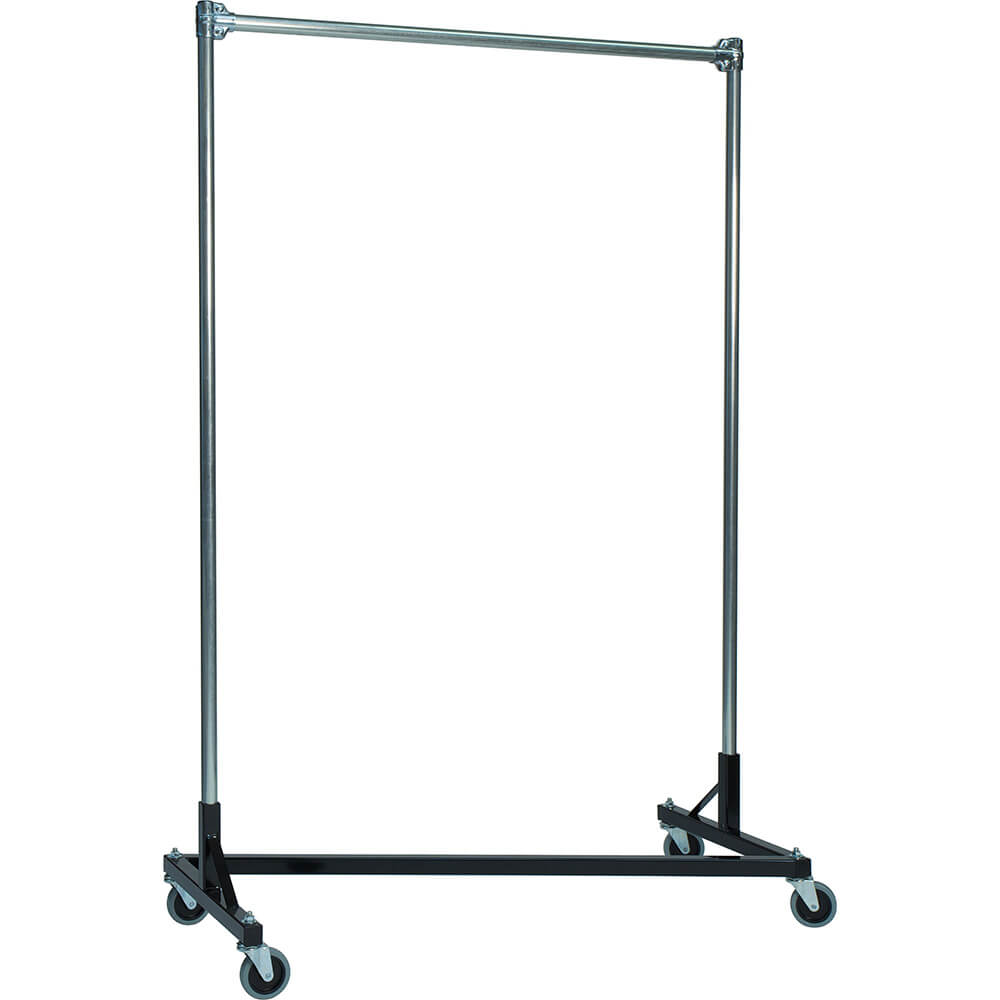 "Black Z-Rack, Heavy Duty Clothes Rack 75"" L x 84"" Uprights, Single Rail"
