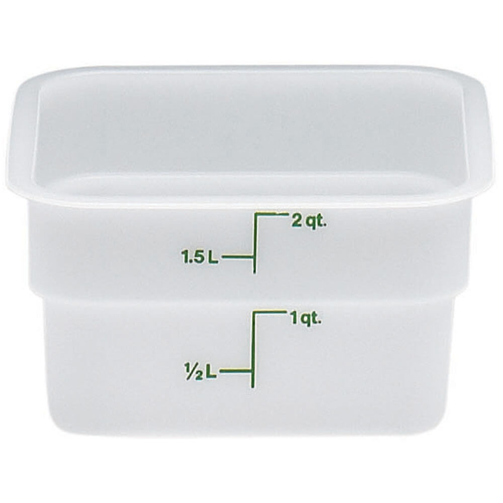 White, 2 Qt. Poly Food Storage Containers, 6/PK