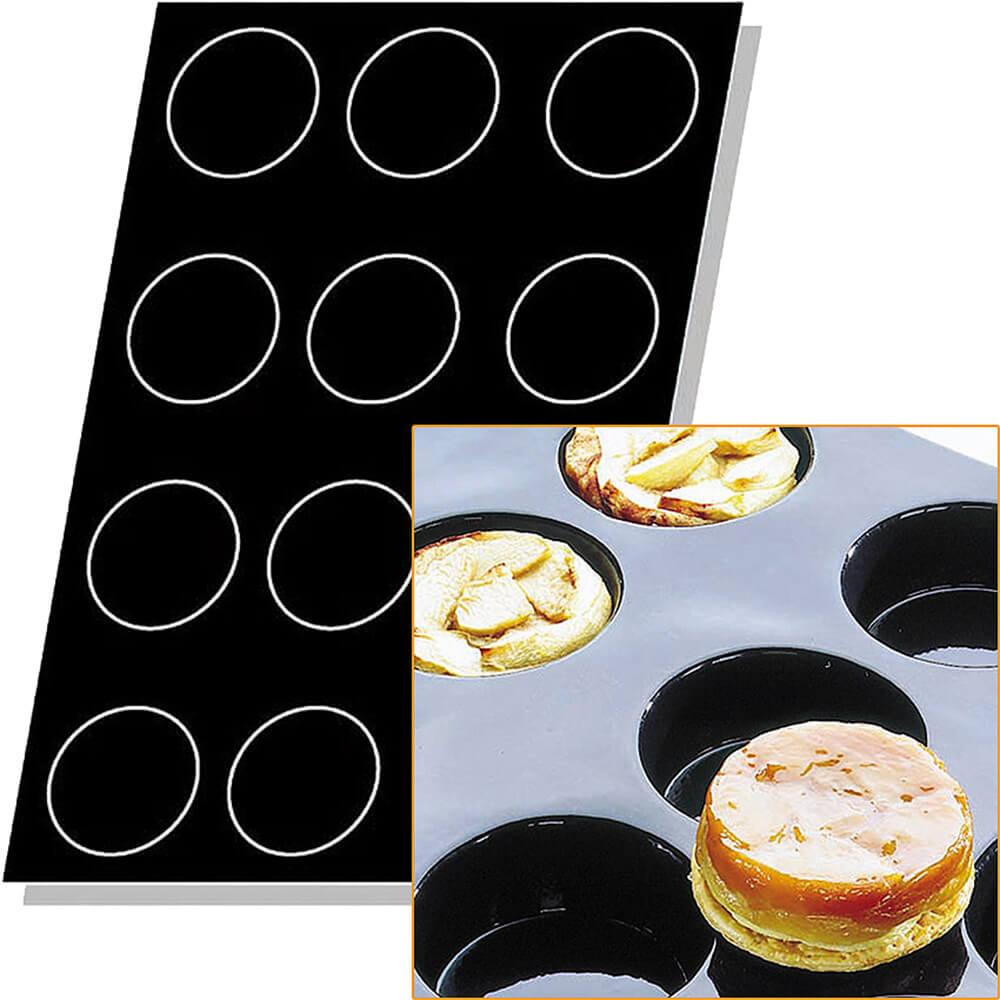 Black, Silicone Flexipan 10 Oz. Quiches / Tart Mold, 12 Cups