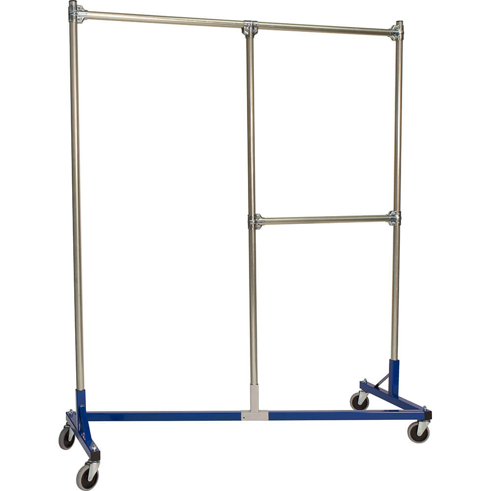 "Blue Z-Rack, Heavy Duty Clothes Rack, Split Rail, 72"" Uprights 1/2 Middle Rail"