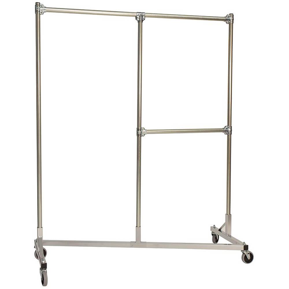 "Silver Z-Rack, Heavy Duty Clothes Rack, Split Rail, 72"" Uprights 1/2 Middle Rail"