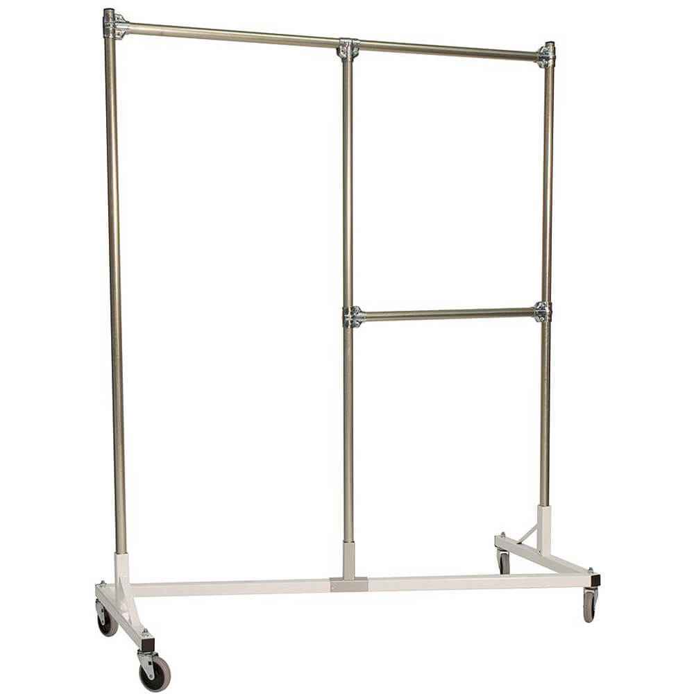 "White Z-Rack, Heavy Duty Clothes Rack, Split Rail, 72"" Uprights 1/2 Middle Rail"