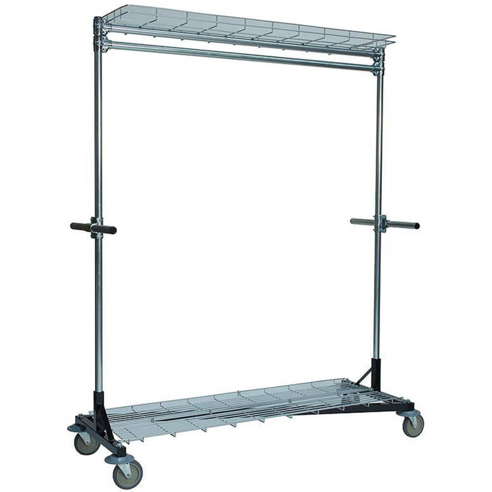 "Black, Multi-Purpose Garment Rack 60"" Long, Top and Bottom Shelves, Steering Handles"