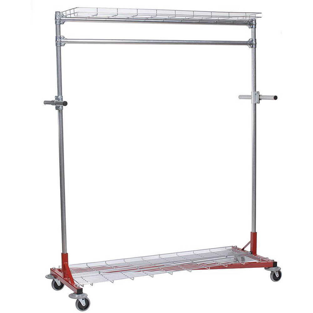 "Silver, Multi-Purpose Garment Rack 60"" Long, Top and Bottom Shelves, Steering Handles"