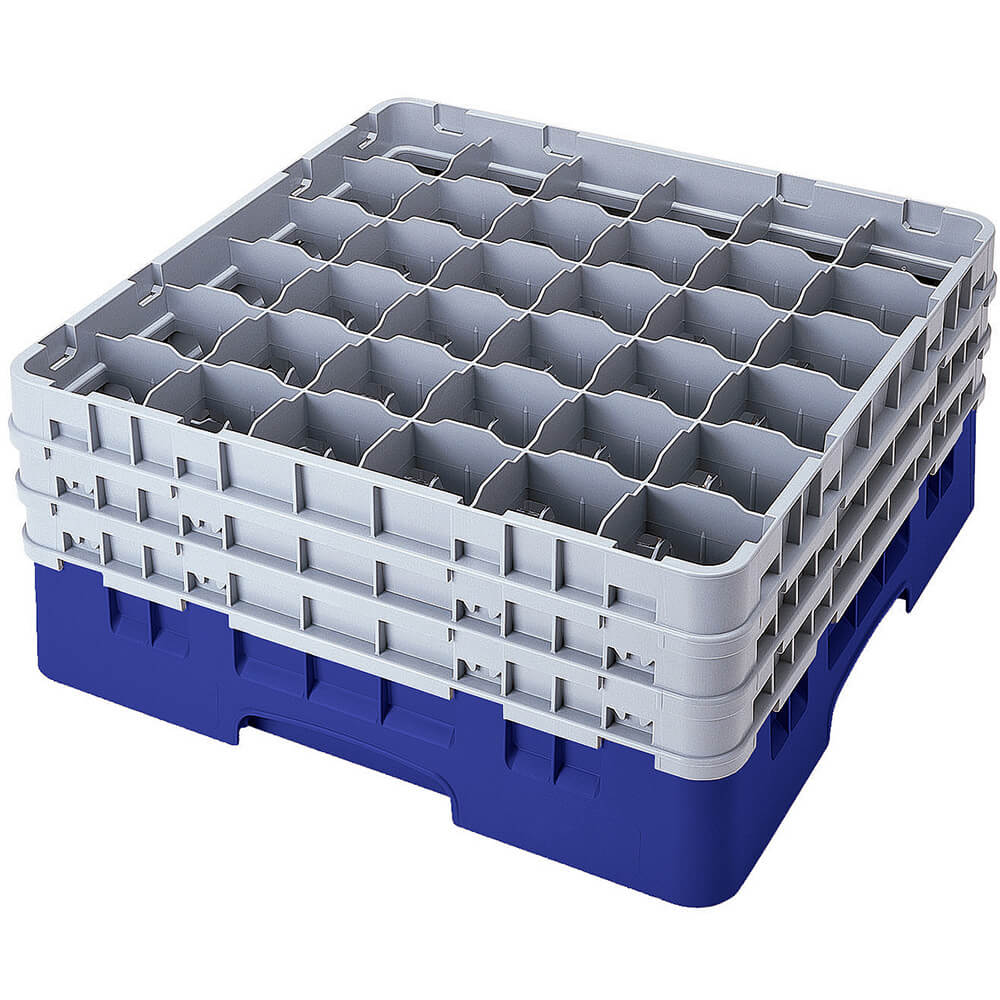 "Blue, 36 Comp. Glass Rack, Full Size, 9-3/8"" H Max."