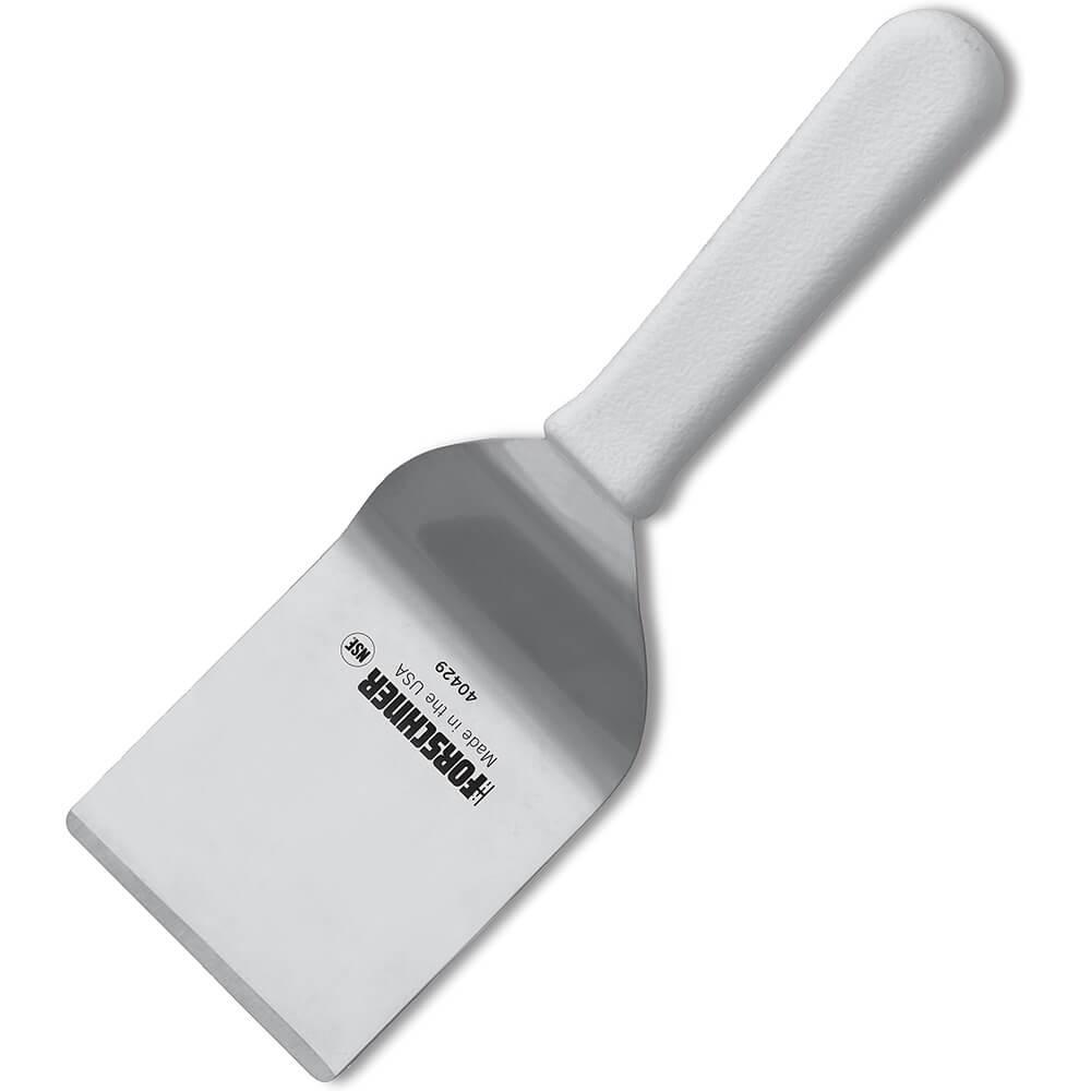 "2.5"" x 2.5"" Mini Turner Spatula, White Polypropylene Handle"
