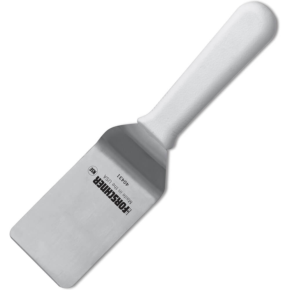 "2.5"" x 4"" Pancake Turner Spatula, White Polypropylene Handle"