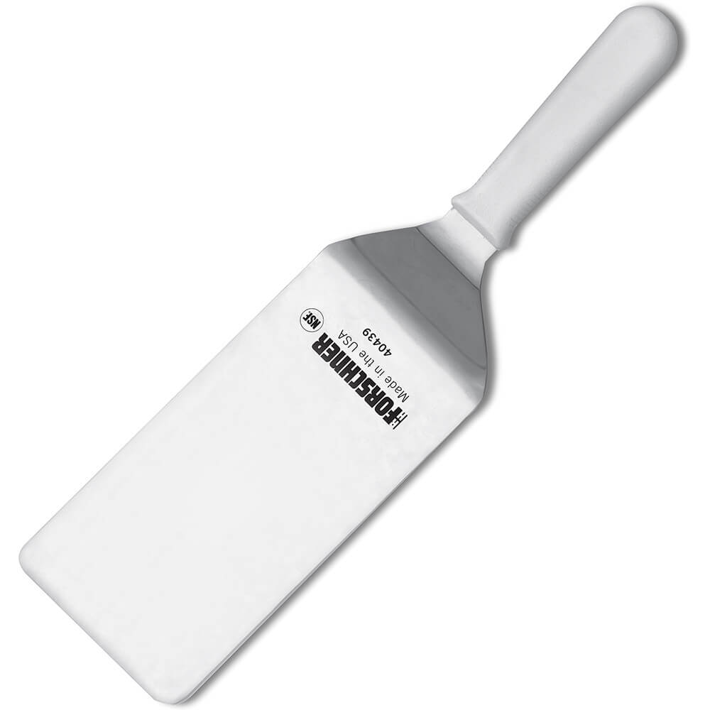 "4"" x 8"" Grill Turner Spatula, White Polypropylene Handle"