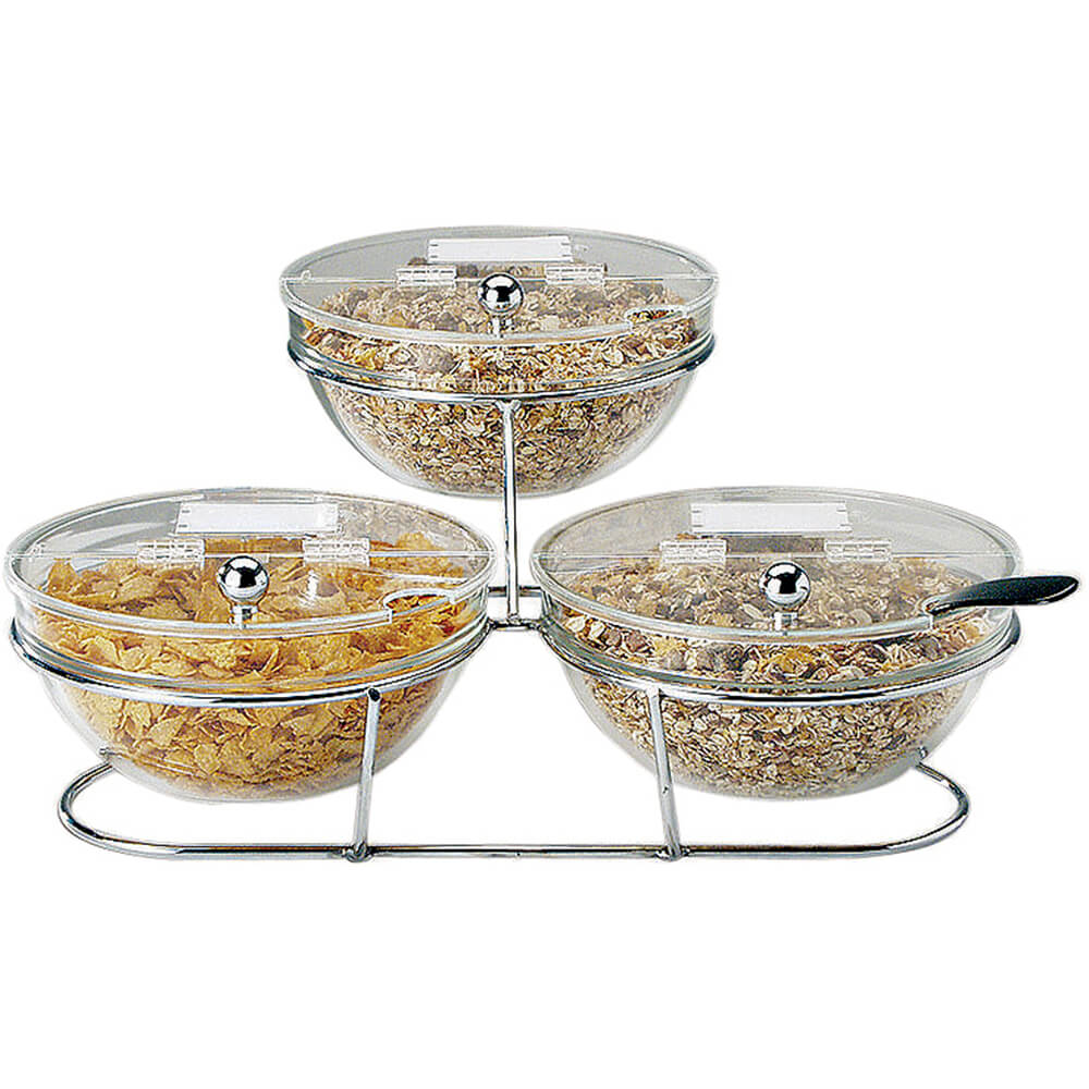 Clear, Chrome Steel 3-Piece Bowl Stand and Bowls